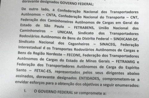 Governo e caminhoneiros anunciam proposta de acordo para suspender paralisação por 15 dias